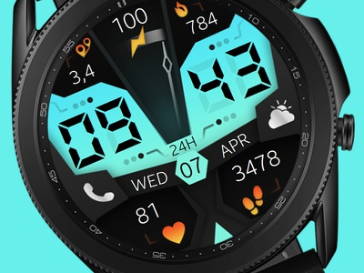 Digital Watch Face galaxywatch3 electronics tech smart illustration wearable watchface watch technology smartwatch samsung graphic design galaxy watch design colorful modern ui