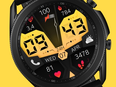 Yellow Watch Face galaxywatch3 electronics tech smart illustration wearable watchface watch technology smartwatch samsung graphic design galaxy watch design colorful modern ui yellow