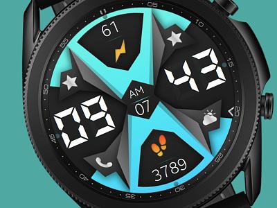 Blue Watch Face galaxywatch3 electronics tech smart illustration wearable watchface watch technology smartwatch samsung graphic design galaxy watch design colorful modern ui blue