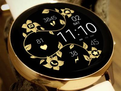 Gold Flower Digital Watch Face galaxywatch3