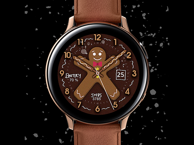 Gingerbread - Watch Face xmas christmas electronics screen digital tech galaxtwatch illustration wearable tech wearable watchface watch technology smartwatch samsung graphic design galaxy watch design classic active