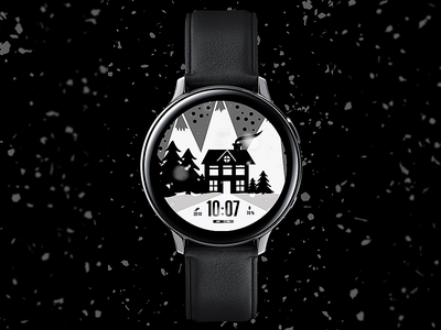 Mountains - Watch Face electronics screen xmas snow christmas galaxtwatch illustration wearable tech wearable watchface watch technology smartwatch samsung graphic design gears3 galaxy watch design classic active