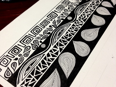 Tribal illustration process beginning stages