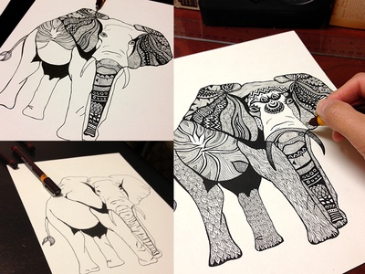 Tribal Elephant Illustration Process