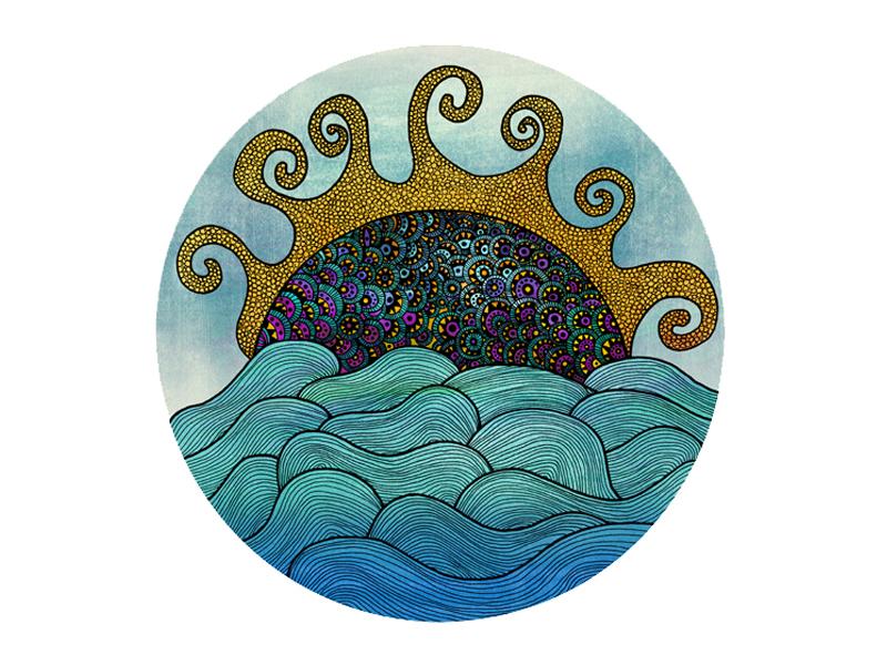 Oceania Illustration ocean sea waves sun circles line art rapidograph elements organic sun rays sky sea life turquoise linear illustration nature illustration detailed illustration