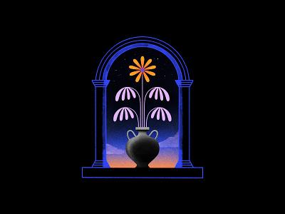 All flowers in time bend towards the sun window vase illustration dusk dawn night stars sunset flower