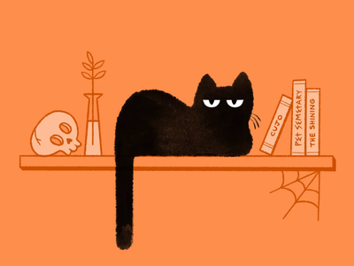 Spooky Snooze skull stephen king autumn october black cat halloween spooky motion design frame animation cel animation animal animation 2d animation 2d cat art procreate ipad digital illustration