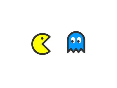 pac-man & ghost gaming retro pacman line flat illustration icon