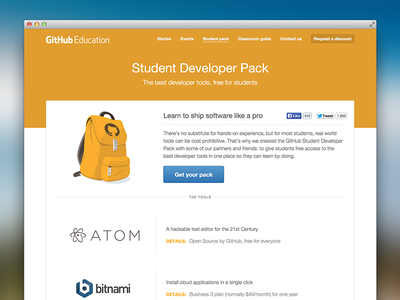 Student Developer Pack design assets illustration github layout web design information architecture