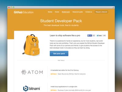 Student Developer Pack design assets illustration github layout web design information architecture
