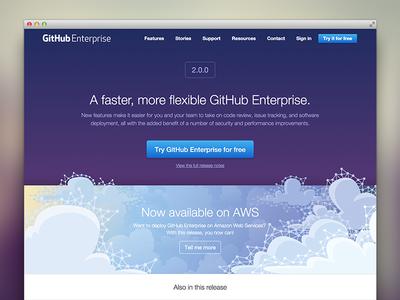 GitHub Enterprise 2.0 Release Page github web design landing page