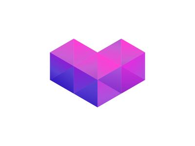 Polygon Heart polygon heart gradients shape isometric