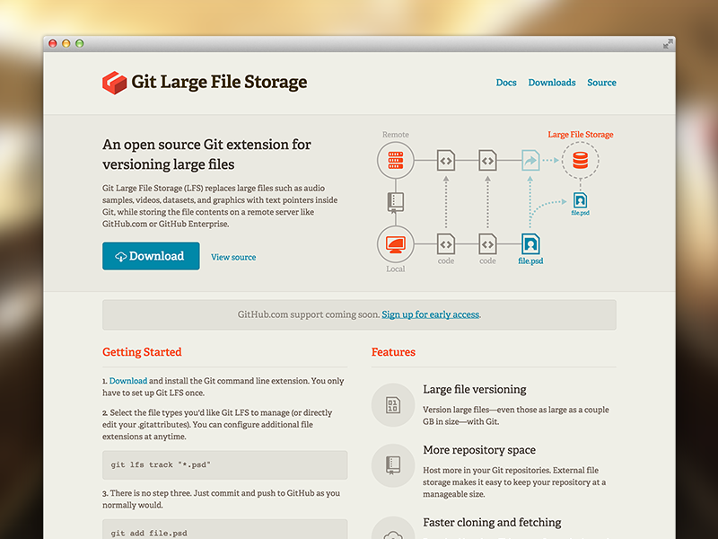 Git Large File Storage by Joel Glovier for GitHub on Dribbble