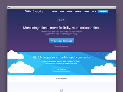 GitHub Enterprise 2.2 release page web design landing page