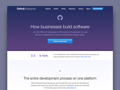 Enterprise Home Page Update - Phase 1 github octicons enterprise web design landing page