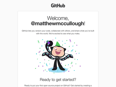 GitHub welcome email redesign html email markup illustration ui design email