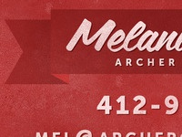 Mel's business cards front