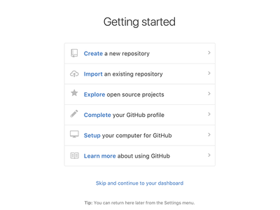 Getting Started page product design github onboarding
