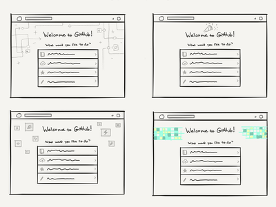 Getting Started rough sketches concept sketches onboarding wireframes