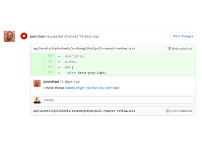 Outdated comments toggling product design pull requests code review