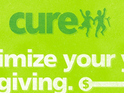 CURE year end push lime texture green logo frutiger cure.org landing page