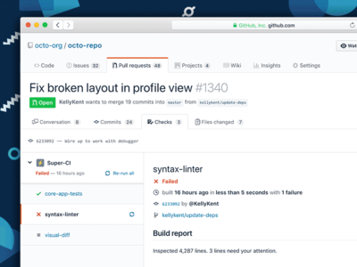 GitHub Checks API user interface design