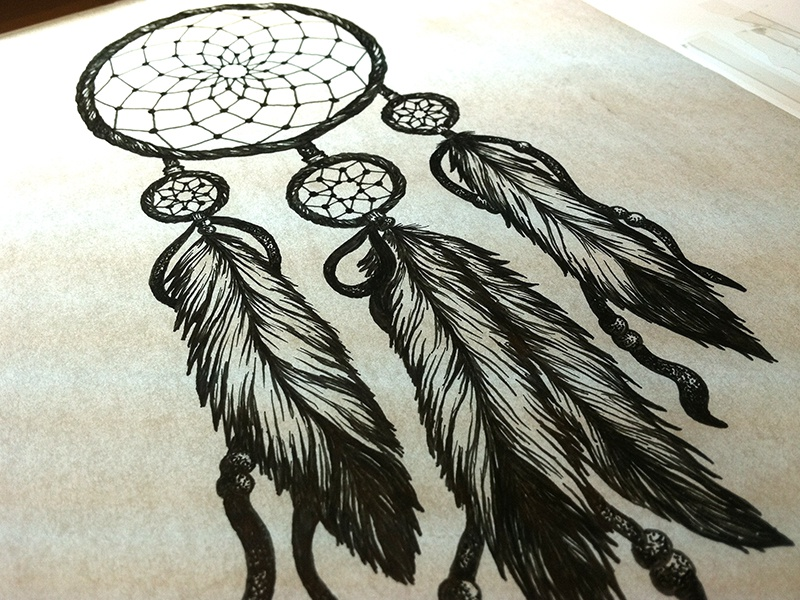 dreamcatcher wolves feathers white - photo #31