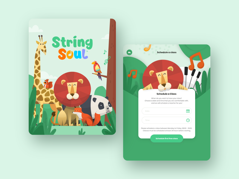 String Soul | Online piano practice app for kids - UI Redesign ipad kids app learning app piano education animal ios kids ux ui app design illustration