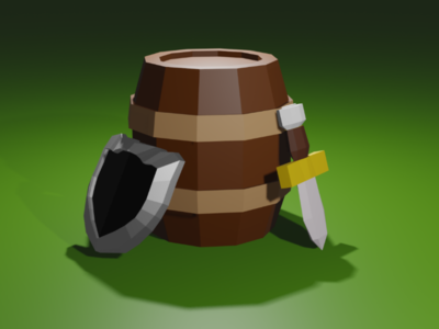 Low Poly Barrel, Shield and Sword