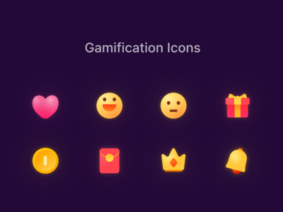 Gamification Icons alert crown red envelope coin gift emoji heart gamification icons iconset figma file download icon game