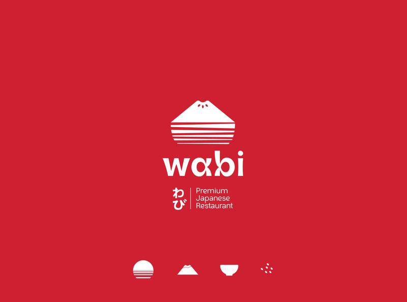 Wabi Sabi logomark red japanese icon fuji restaurant japan design flat typography concept branding logo geometric elegant