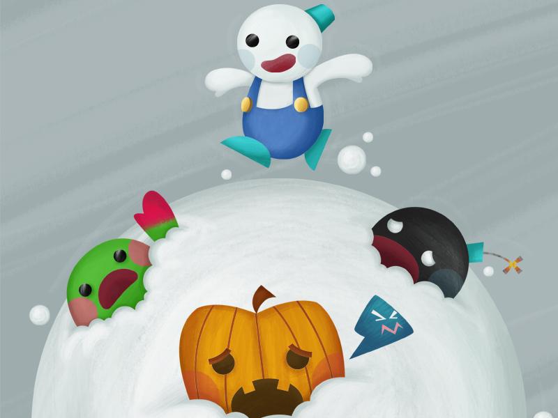 Snow Bros snow bros illustration video game arcade