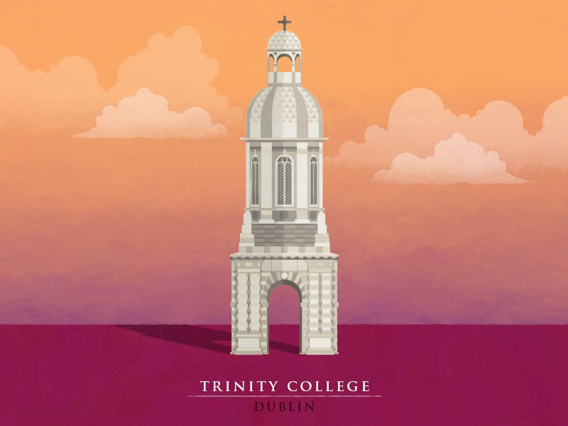 Trinity College illustration dublin college trinity photoshop vector