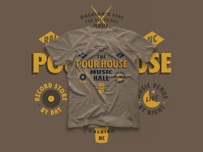 project: [proceed] // The Pour House Music Hall shirt music graphic design shirt mockup small business shirt design lettering graphic shirt design type