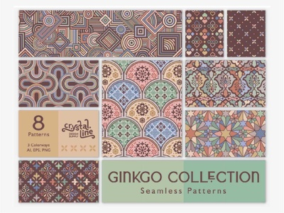 Cover for Ginkgo Collection lace tribal textile ornament batik fabric bohemian background ancient abstract geometric retro vintage ethnic traditional pattern seamless decorative mosaic