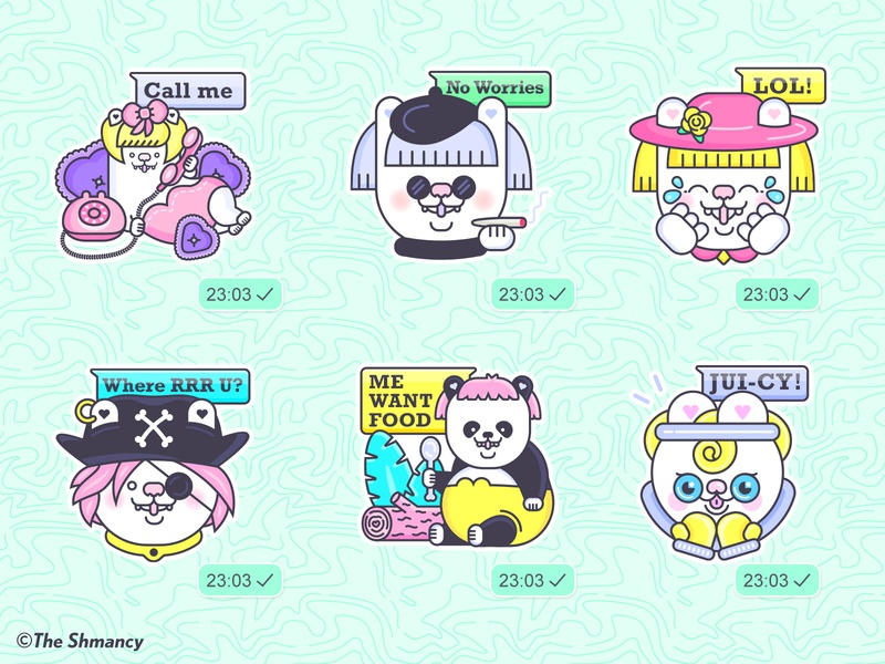 Shmancy & Friends© WhatsApp Sticker Pack illustrator vector kawaii cute whatsapp sticker