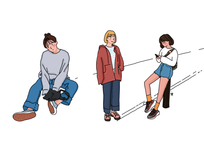 the girls ui design illustration