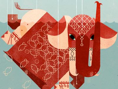 Elephant illustration children geometry editorial color texture handmade