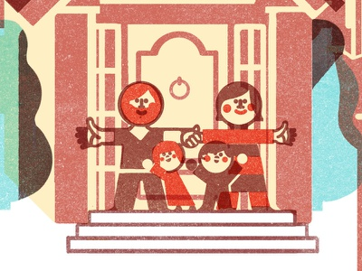 Monocle Family illustration children geometry editorial color texture handmade monocle