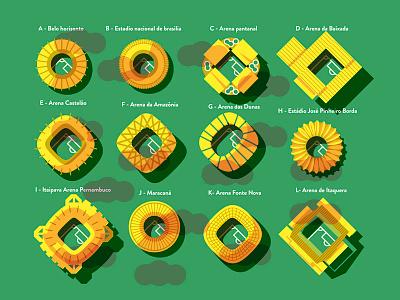 Brazil Stadiums illustration geometry editorial color texture handmade monocle