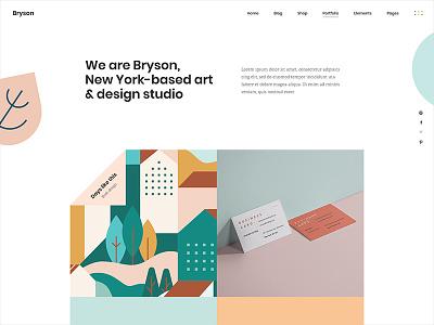Bryson Design studio home illustrator portfolio wordpress vectors personal portfolio illustration designer portfolio theme template studio portfolio design creative colorful agency