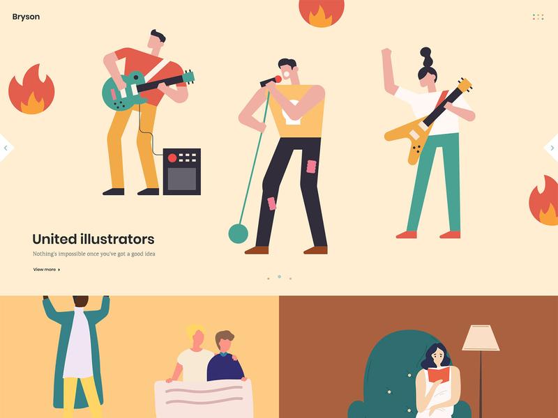 Bryson Illustrator portfolio homepage illustrator illustraion vectors template studio portfolio design creative agency wordpress theme colorful