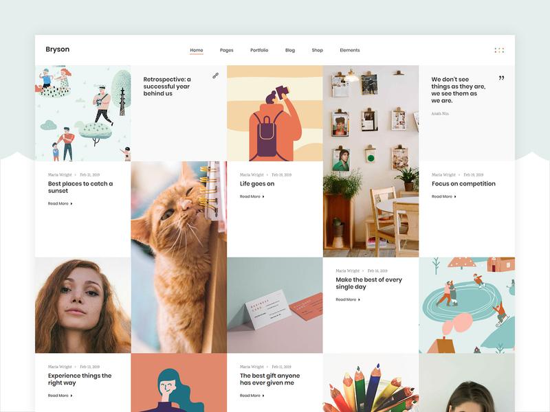 Bryson Blog home blog vectors template studio portfolio design creative agency wordpress theme colorful