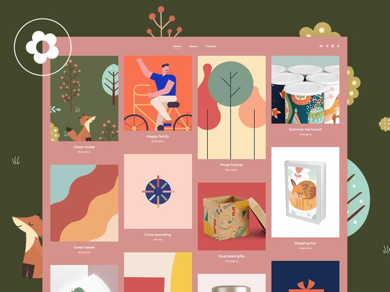 Illustration Portfolio presentation illustrator portfolio designer portfolio vectors portfolio illustration design template creative wordpress theme colorful