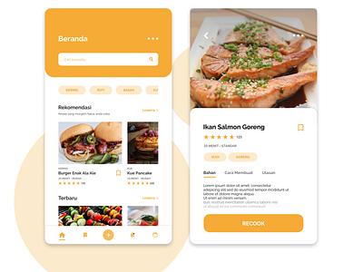 Food Recipes App recipes food yellow mobile app design mobile app mobile app simple ux  ui ux design ux ui  ux design ui  ux uiinspirations uiinspiration uidesign ui flat design