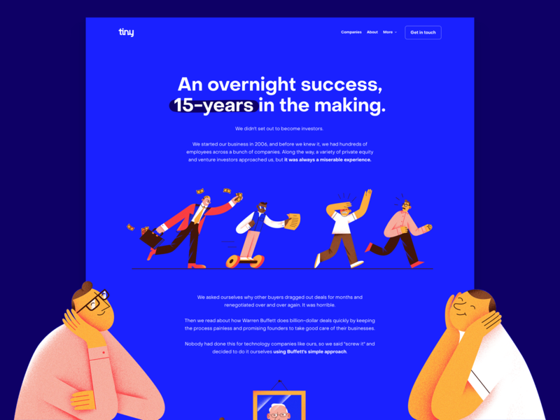Tiny – About tiny dribbble about page aboutus landing web website website design investment investor investing about illustration webflow
