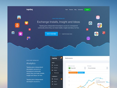 Tapdaq Landing - First Idea performance landing dark dashboard profile graph table apps web stats summary ui
