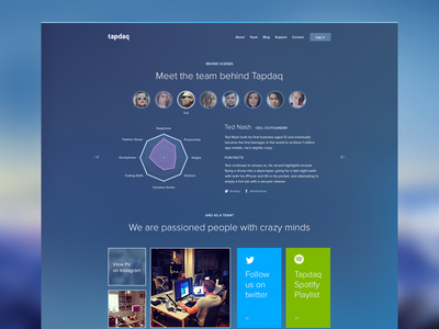 Tapdaq Team Page ui summary stats web apps table graph profile dashboard dark landing performance