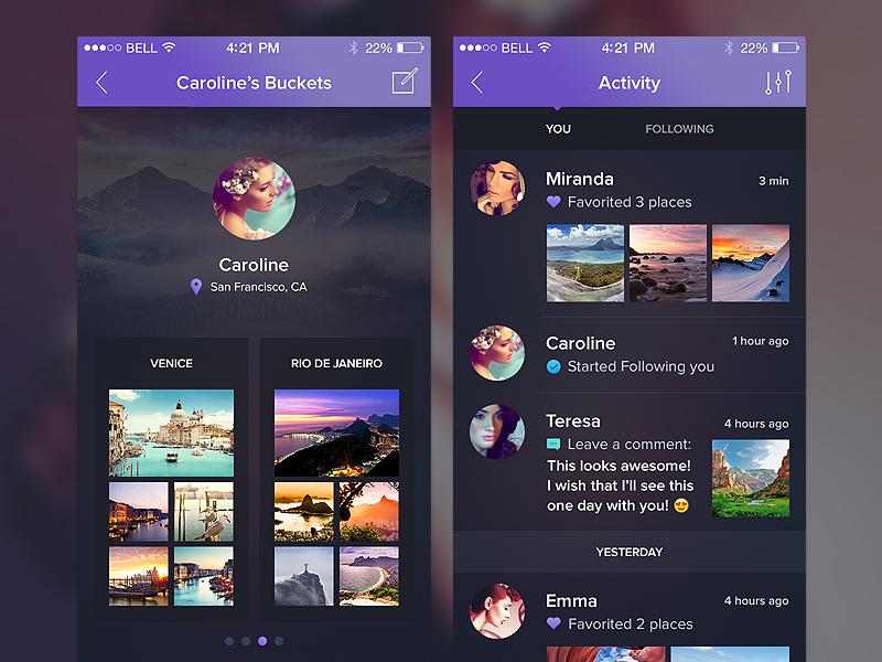 Night&Travel UI Kit WIP P2 ios feed travel flat freebie sketch walkthrough filter gallery illustration dark ui
