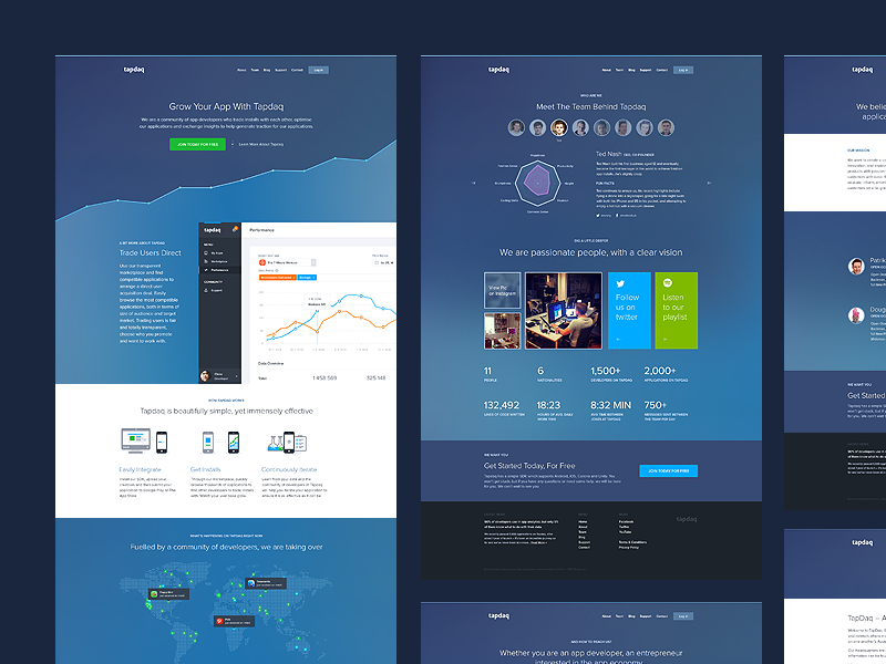 Tapdaq - Landing Page ui summary stats web apps table graph profile dashboard dark landing performance